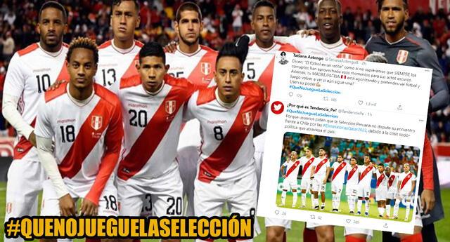 Usuarios peruanos vuelven tendencia el hashtag #QueNoJuegueLaSelección para protestar contra Manuel Merino