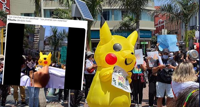 Pikachu llega a la Marcha Nacional contra Manuel Merino con gran mensaje para la juventud