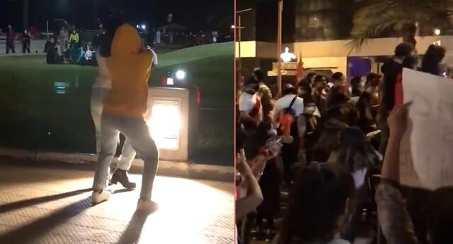 Tiktokers bailan al costado de una manifestación contra Merino.