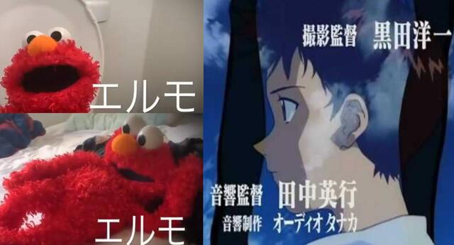 Elmo canta el opening original de Evangelion.