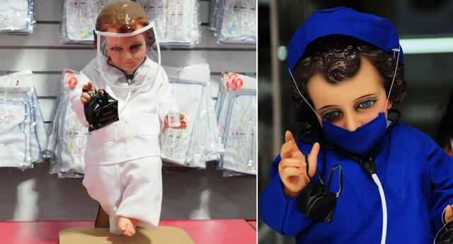 Venden un niño Jesús con protector facial y tapabocas en México.