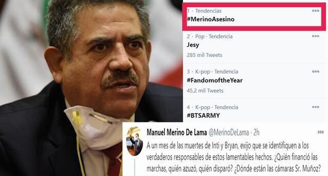 Manuel Merino lanza tuit sobre muertes de Inti y Bryan, causando repudio en redes sociales y hashtag #MerinoAsesino