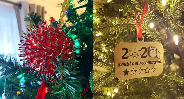 Adornos de navidad inspirados en el Covid-19.