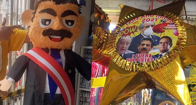 Se viralizan piñatas de año nuevo de Manuel Merino, Richard Swing y políticos peruanos