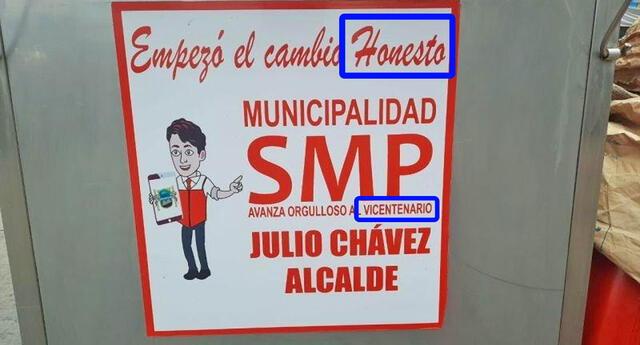 Viralizan sticker de la municipalidad de SMP alusivos al Bicentenario con errores ortográficos