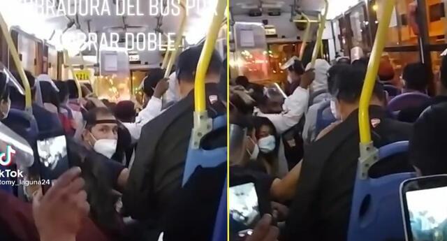 Pasajeros iban de pie en un bus pero se agachan para que multen al conductor.