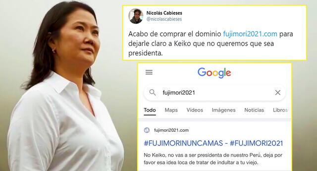 Joven compra el dominio 'Fujimori 2021' y se vuelve viral en redes.