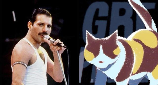Freddie Mercury y su amada gata Delilah tuvieron un cameo en el ending del anime The Great Pretender./Fuente: Composición.
