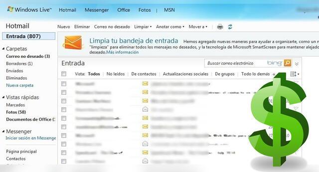 Microsoft empezará a cobrar por mantener correos antiguos de Hotmail