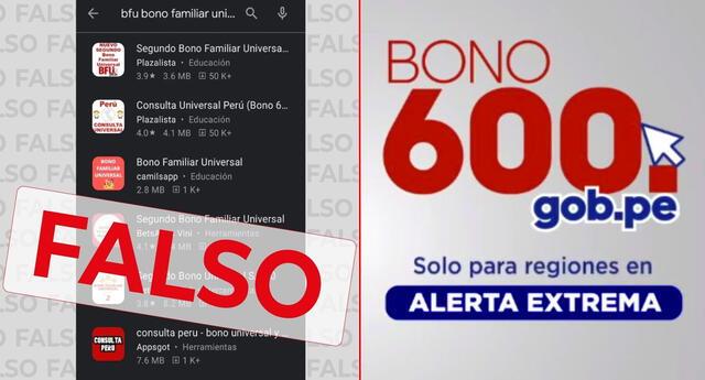 El MIDIS advierte sobre estas aplicaciones falsas del Bono 600.