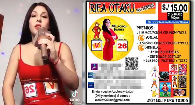 Milagros Juárez realiza 'rifa otaku' para los fondos de su campaña congresal.