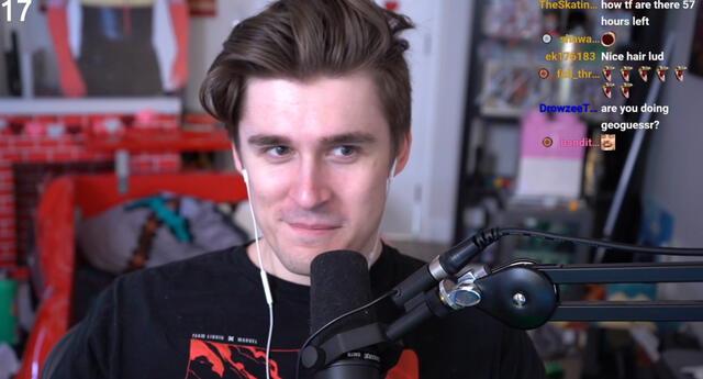 Ludwig Ahgren, el undécimo streamer de habla inglesa más suscrito de Twitch, ya lleva 14 días de transmisión en directo ininterrumpida./Fuente: Twitch.