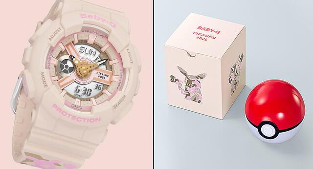 El reloj tiene como figura principal a Pikachu y es de color rosado.