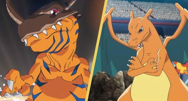 Pokémon y Digimon fusionados en un crossover de Charizard y Greymon