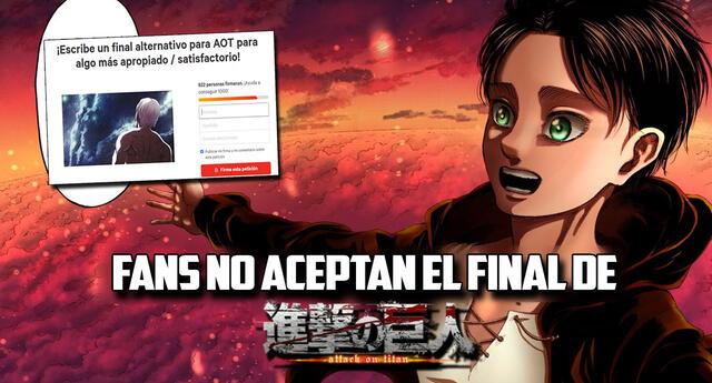 Fans que no aceptan el final de Attack on Titan quieren que se modifique.
