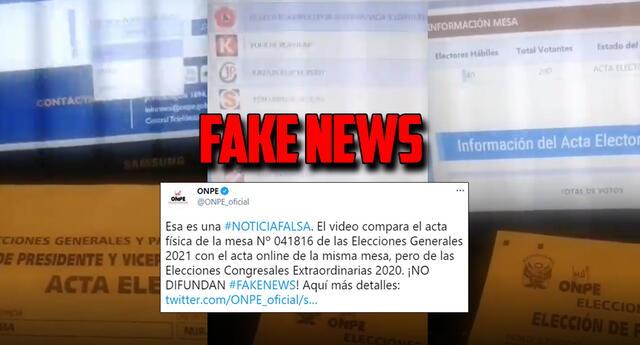 ONPE desmiente fake news entorno a las votaciones del 11 de abril.