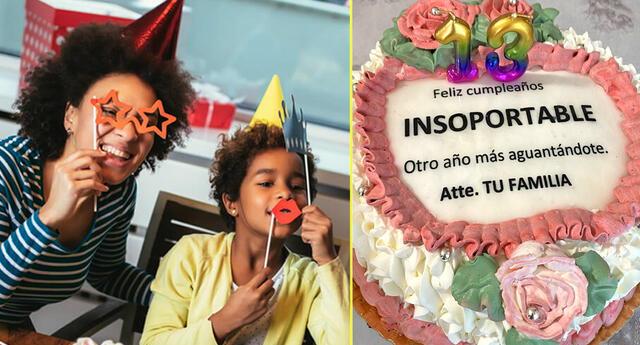Jovencita recibe pastel de cumpleaños con hilarante frase.