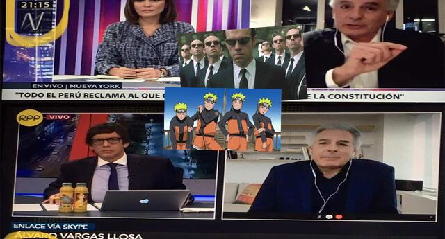 Álvaro Vargas Llosa recibe varios memes por aparecer en 2 entrevistas al mismo tiempo