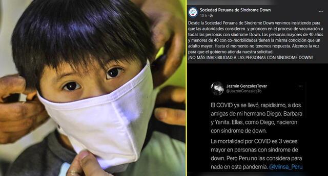 La asociación exige que la vacunación sea prioridad para las personas con síndrome de Down. Foto: La República.