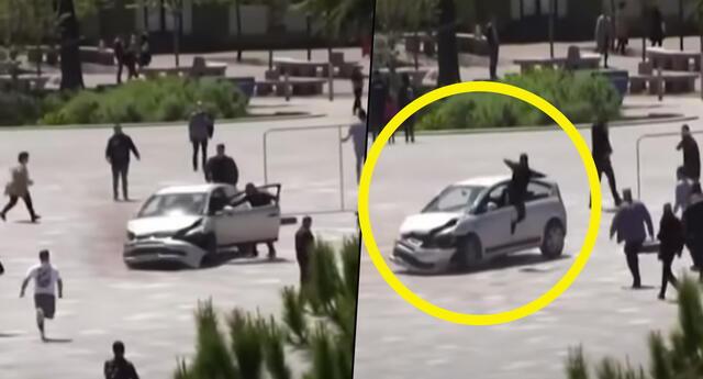 ¡De película! Joven detiene a conductor irresponsable con patada voladora y se vuelve viral