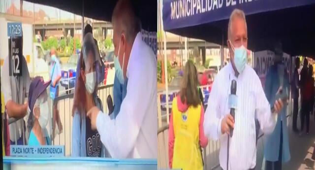 El reportero Gunter Rave ayudó a señora a ser vacunada y peruanos felicitan su acción