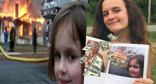 Joven vende su foto original del meme de la niña y el incendio por medio millón de dólares