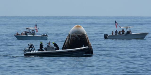 El amerizaje del Crew-1 de SpaceX, apoyado por la NASA, resultó en todo un éxito y los astronautas de la tripulación ya están en la Tierra./Fuente: NASA.