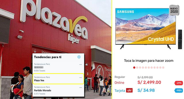Viralizan supuesta caída de precios en web de Plaza Vea.