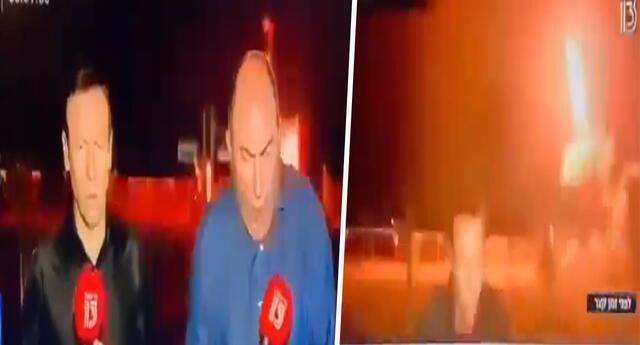 Periodistas fueron sorprendidos en vivo, cuando misil israelí se activó