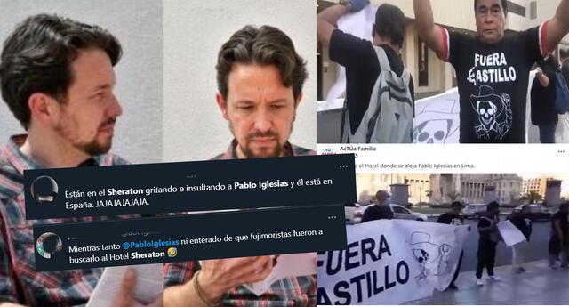 Protestan contra Pablo Iglesias frente al hotel Sheraton, pero él nunca estuvo en Perú