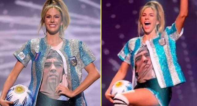 Miss Argentina llevó un traje representando a Maradona.