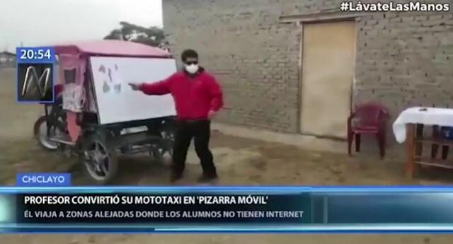 Profesor convierte mototaxi en pizarra móvil para enseñar a niños sin internet en zonas alejadas./Fuente: Canal N.