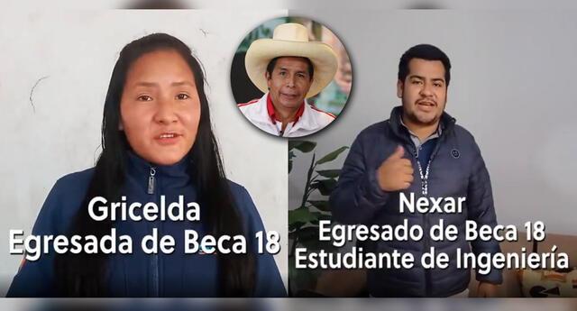 Jóvenes que del programa Beca 18 apoyan a Pedro Castillo de Perú Libre.