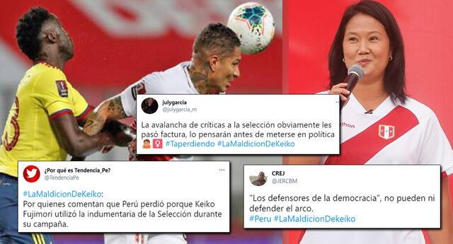 En Twitter, se volvió tendencia 'La maldición de Keiko' por la goleada de Colombia.