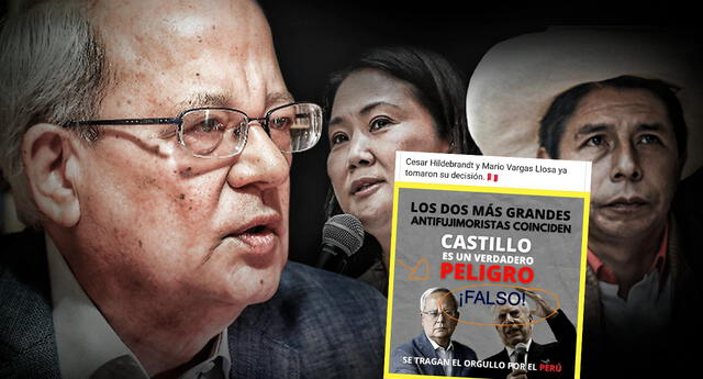 César Hildebrandt desmiente afiche que afirma que él apoya a Keiko Fujimori