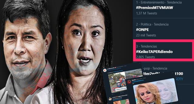 #KeikoTAPERdiendo se vuelve tendencia tras avances en el conteo de votos de la ONPE