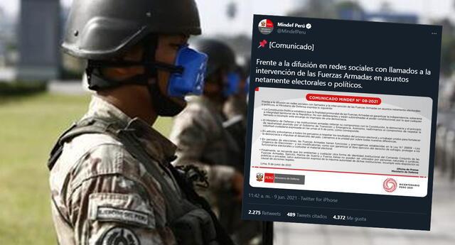 Mindef lanza comunicado ante llamado a la intervención de las Fuerzas Armadas:
