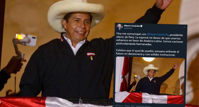 Alberto Fernández felicita a Pedro Castillo como presidente electo del Perú, en Twitter